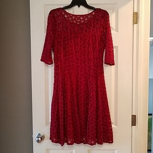 Red Dress with elbow-length sleeves